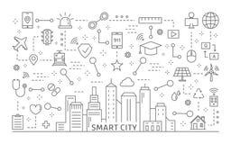 Slimme geplaatste stadspictogrammen vector illustratie