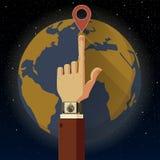 Slimme horloge en Aarde Vector Illustratie