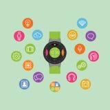 Slimme horloge vectorillustratie Mobiel gadget Stock Foto