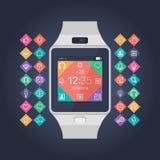 Slimme horloge vectorillustratie Mobiel gadget Stock Afbeeldingen