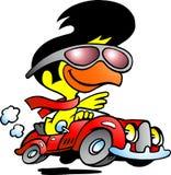Slimme kip die een sportwagen drijft Stock Afbeeldingen