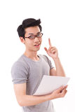 Slimme, slimme, gelukkige nerd of geek mens die vinger benadrukken Stock Foto's