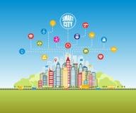 Slimme stad met de gevorderde slimme diensten, sociaal voorzien van een netwerk, Internet van dingen royalty-vrije illustratie