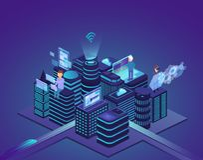 Slimme stad van geavanceerd technisch Controlesysteem en automatisering van stadsprocessen met hulp van computer draadloos netwer vector illustratie