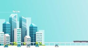 Slimme stadsanimatie met auto, trein, de bouw en hemel royalty-vrije illustratie
