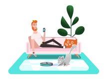 Slimme stofzuiger Kattenspelen met een stofzuiger stock illustratie