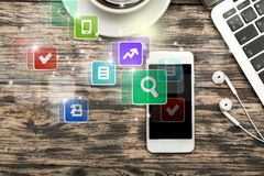 Slimme telefoon apps royalty-vrije stock foto's