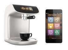 Slimme telefoon apps voor koffiemachine Origineel ontwerp royalty-vrije illustratie