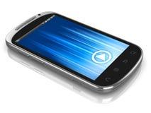 Slimme telefoon, de telefoon van het aanrakingsscherm die op wh wordt geïsoleerdr Stock Foto