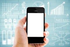 Slimme telefoon en bedrijfsgrafiek, grafiek stock fotografie