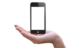Slimme telefoon en hand Stock Foto