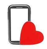 Slimme telefoon en liefde rood hart Stock Afbeeldingen