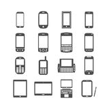 Slimme telefoon en tabletpictogramreeks, vectoreps10 Stock Afbeeldingen