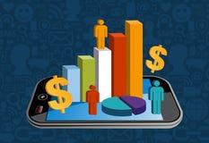Slimme telefoon financiële activiteit royalty-vrije illustratie