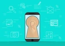 Slimme telefoon met beeld van oor Achtergrond met de eenvoudige pictogrammen van de lijnstijl Het concept veiligheid en beschermi Royalty-vrije Stock Afbeelding