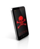 Slimme telefoon met een piraatsymbool op het scherm Het binnendringen in een beveiligd computersysteem concept Stock Afbeelding