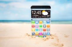 Slimme telefoon met een transparante vertoning Stock Afbeeldingen