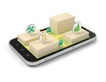 Slimme telefoon mobiele kaart royalty-vrije illustratie