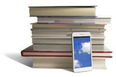 Slimme telefoon in onderwijs royalty-vrije stock afbeeldingen