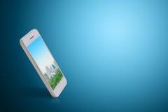 Slimme telefoon op het blauwe scherm Royalty-vrije Stock Foto's