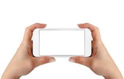 Slimme Telefoon in Vrouwenhanden Horizontale positie Royalty-vrije Stock Afbeeldingen