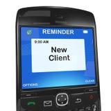 Slimme telefoonherinnering, nieuwe cliënten Stock Fotografie