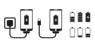 Slimme telefoonlast met het niveau van de batterijindicator, vectorpictogrammen royalty-vrije illustratie