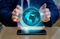 Slimme Telefoons en Bolverbindingen Ongewone communicatie wereld royalty-vrije stock afbeelding