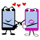 Slimme Telefoons met Harten Stock Afbeelding