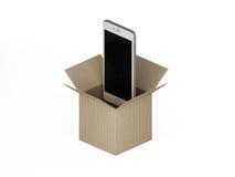 Slimme telefoons uit het vakje in pakpapier Royalty-vrije Stock Foto