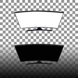 Slimme TV van het krommen zwart-witte lege scherm Achtergrond in vectorgrafiek Transparante Achtergrond stock illustratie