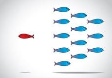 Slimme unieke en gelukkige vissen die zich tegen de groep bewegen - conceptontwerpillustratie het inspireren leider Royalty-vrije Stock Afbeeldingen