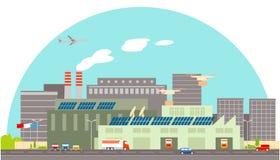 Slimme vlakke de fabrieks vectorillustratie van de technologieindustrie Royalty-vrije Stock Afbeelding