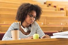 Slimme vrouwelijke student die voor lezing voorbereidingen treffen stock afbeelding