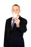 Slimme zakenman die een raadsel houden royalty-vrije stock foto's