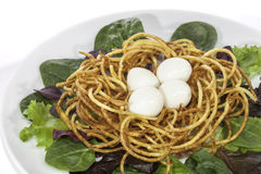 Slimmer`s low calorie quail egg salad made with spiralizer Royalty Free Stock Photos