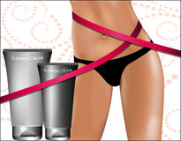 Slimming Cream. Beautiful female hip Stock Image