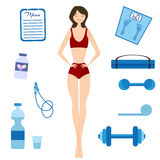 Slimming girl and Healthy lifestyle Royalty Free Stock Image