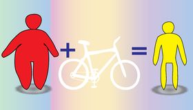 Slimming Men and Women by Bicycle Royalty Free Stock Images