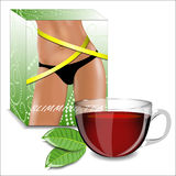 Slimming tea. Tea packaging with the image of shapely female hip Stock Photography