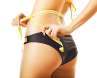 Slimming woman in panties with measure Royalty Free Stock Photos