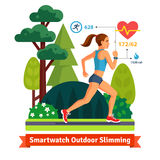 Slimming woman running in the park Royalty Free Stock Image