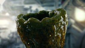 Slimy αλλοδαπό κουκούλι στο εργαστήριο απόθεμα βίντεο
