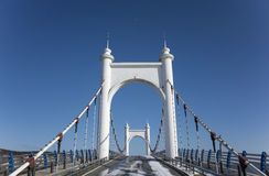 Sling Bridge. The sling bridge under the pure blue sky Stock Images