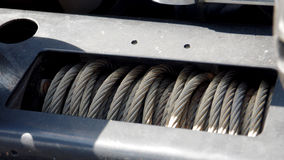 Sling coil in front of the bumper. 4W off-road truck Big foot Stock Images