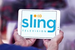 Sling TV logo. Logo of Sling television on samsung tablet. sling is an American over-the-top internet television service, aims to complement subscription video royalty free stock images