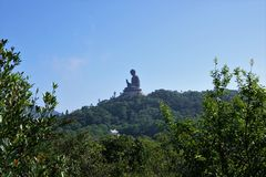 Slinga till den stora jätte- Buddha i Hong Kong arkivfoto