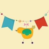 Slinger met vlaggen en een vogel Stock Foto's