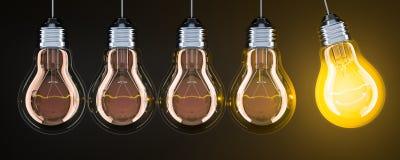 Slinger van lightbulbs op de donkere achtergrond, het 3D teruggeven vector illustratie
