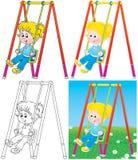 Slingerend meisje in een speelplaats Stock Afbeelding